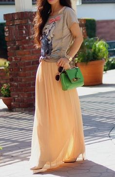 Graphic tees + maxi skirts.