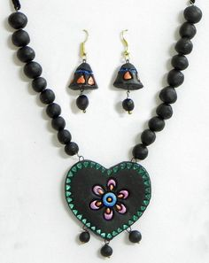 terracotta jewellert heart | Hand Painted Black Bead Necklace with Heart Pendant and Jhumka ...