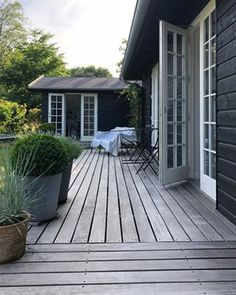 After another beautiful sunny day ☀️ . Exterior House Colors, Exterior Design, Cottage Shabby Chic, Cottage Extension, Nordic Home, Prefab Homes, Outdoor Rooms, Backyard Patio, Fresco