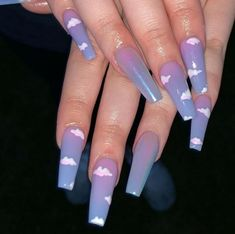 Aug 2019 - Long Coffin nails W/ cloud nail art & chrome ✨ Nails - acrylic nails - coffin nails - natural nails Summer Acrylic Nails, Best Acrylic Nails, Purple Acrylic Nails, Ombre Nail, Nail Gradient, Acrylic Nails Stiletto, Pink Nail, Acrylic Nail Art, Aycrlic Nails