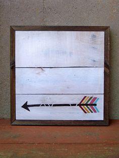 Reclaimed Wood Arrow Painting by RusticWoodOriginals on Etsy, $80.00