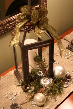 so doing this to the decorative lanterns in my living room country christmas christmas - How To Decorate A Lantern For Christmas