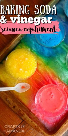 Teaching kids about chemical reactions doesn't have to be limited to science class. This fun experiment shows the baking soda and vinegar reaction that happens when these two ingredients are combined. #science experiment #bakingsodavinegar #experiment #kidsexperiment #kidsscience #kidsscieneexperiment #kidscrafts #craftsbyamanda