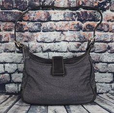 COACH 7762 Black Leather English Wool Tweed Strap Shoulder Handbag Purse Bag #Coach #ShoulderBag
