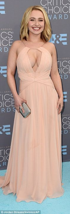 670c1a16d820 Just peachy: Hayden Panettiere showed plenty of cleavage in a  blush-coloured Maria Lucia Hohan gown, while Gina Rodriguez wore a salmon  SAFiYAA dress