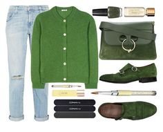 """""""Green with envy: wintery"""" by samira-rahimova ❤ liked on Polyvore featuring Current/Elliott, Miu Miu, OPI, Green George, MAC Cosmetics, J.W. Anderson and UKA"""