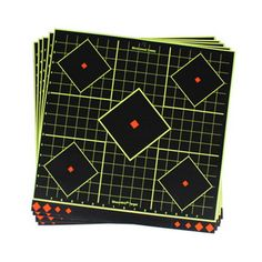 These adhesive, reactive targets by Birchwood Casey are easy to set up and easy to see! There are five reactive targets on each sheet ‰ÛÒ use center target for sighting-in and four smaller targets for confirmation of sight-in groups. Reactive Targets, Range Bag, Shooting Targets, Shooting Accessories, Green Rings, Low Lights, Ebay, Coupon, Discount Price