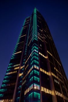 Paris' 690-foot tall Montparnasse Tower: lit up in LED lights that can change colors and brightness at the push of a button thanks to a digital control system. The tower's fundamental scheme varies with the four seasons: green in spring, blue in summer, orange and yellow in autumn and white/deep blue in the winter.