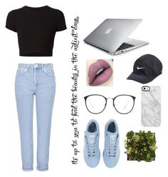 """casual day in the town"" by mariahnavarro ❤ liked on Polyvore featuring Topshop, NIKE, adidas, Getting Back To Square One, Uncommon and Linda Farrow"