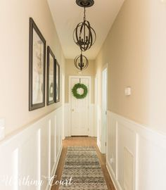 Long, Dark Hallway Makeover Before And After + 3 Free Printables ideas entrance ideas paint hallway ideas hallway decorating halls hallway ideas Narrow Hallway Decorating, Hallway Ideas Entrance Narrow, Entrance Ideas, Decorate Long Hallway, Entrance Halls, Dark Hallway, Upstairs Hallway, Modern Hallway, Modern Staircase