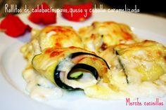 Rollitos de calabacín, pavo, queso y cebolla caramelizada