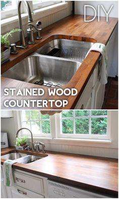Check out the tutorial on how to make a stained wood kitchen countertop. Looks easy enough! Looking for DIY countertops to revamp your kitchen? It's a big home project and you need to get ready for it properly. Outdoor Kitchen Countertops, Diy Countertops, Kitchen Counters, Kitchen Cabinets, Plywood Countertop, Soapstone Kitchen, Island Kitchen, White Cabinets, Kitchen Sink