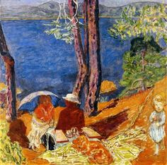By the Sea, Under the Pines, 1921 by Pierre Bonnard. Post-Impressionism. genre painting. Private Collection