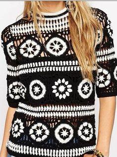 Fabulous Crochet a Little Black Crochet Dress Ideas. Georgeous Crochet a Little Black Crochet Dress Ideas. T-shirt Au Crochet, Cardigan Au Crochet, Beau Crochet, Bikini Crochet, Pull Crochet, Crochet Jacket, Crochet Woman, Crochet Cardigan, Free Crochet