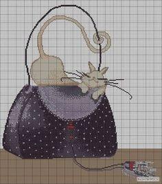 0 point de croix chat blanc sur sac noir - cross stitch white cat on black bag