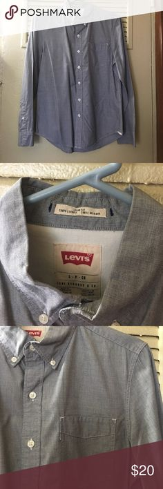 Levi's Chambray Slim Fit Button Down Light grayish blue. Missing Levi's logo by the pocket other than that great condition. Size small. Levi's Shirts Casual Button Down Shirts