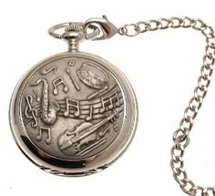 Pocket watch - Solid pewter fronted mechanical skeleton pocket watch - Musical design 43 AEW. $99.00