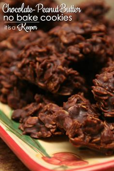 Chocolate Peanut Butter No Bake Cookies - this easy cookie recipe is one of my grandma's best recipes