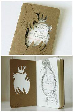 Moleskine cahier journal (by Heidi Burton / Making Strangers) Sketchbook Cover, Sketchbook Project, Fashion Sketchbook, Sketchbook Inspiration, Scrapbook, Book Projects, Handmade Books, Book Binding, Journal Covers