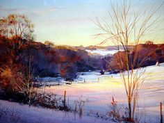 """Winter Shadows from the Hilltop"" watercolor by Thomas McNickle of the Pennsylvania hills where he lives. What a great painting - he really captures the feel of winter lighting"