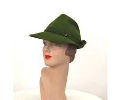 8634875c0a13a 1940s fedora green wool felt tilt hat with braided band Broad Shoulders