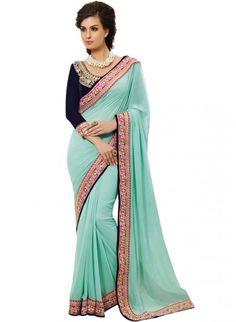 #Sky Blue Georgette #Saree @http://www.maalpani.com/latest-arrivals.html