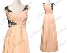 Straps V Neck with Lace Champagne Long Evening Dresses by Formals, $159.00
