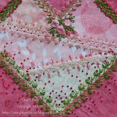 I ❤ crazy quilting and stunning embroidery . . . This gorgeous over the top block is Kathy Semone's block for the Hearts DYB ~By Lisa Boni, ivoryblushroses