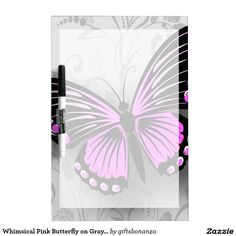 Whimsical Pink Butterfly on Gray Floral Dry-Erase Board