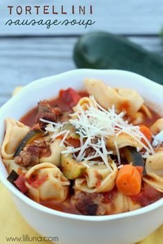 Tortellini Sausage Soup - a new favorite!  { lilluna.com }