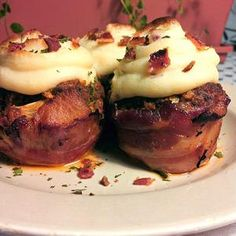 Bacon Wrapped Meatloaf Cupcakes with Mashed Potato Topping. HEAVEN. IN MEATLOAF CUPCAKE FORM