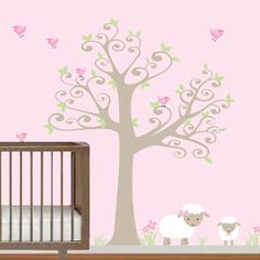 Nursery+Tree+Decal+with+LambsBirds-Vinyl+Wall+by+Modernwalls