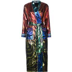 Mary Katrantzou marble oil design kimono jacket ($5,520) ❤ liked on Polyvore featuring outerwear, jackets, metallic, boho jacket, boho kimono, long sleeve kimono, flared jacket and kimono jacket