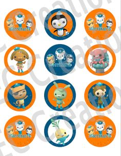 Instant Download  Octonauts Stickers or Cupcake by ECDesignss, $2.00