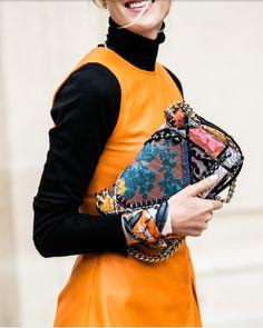 Details of broquard bag and scarf bracelet - street style - pic vogue paris