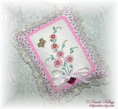 Shabby Chic Hanging Pillow Hand Embroidered Beaded by Kittyandme, $16.95