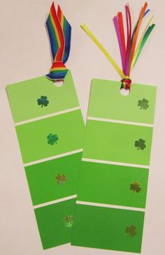 St. Patrick's Day shamrock and rainbow bookmarks