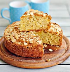 Apple and Apricot Cake. (in Polish with translator) Apricot Cake, Bagel, Banana Bread, Muffin, Polish, Baking, Breakfast, Apple Cakes, Food Heaven