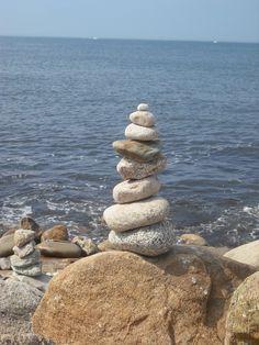 Rock stack on Block Island beach