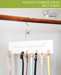 Turn a hanger into a belt organizer! How do you organize your belts? Mine are currently stacked onto the hook of a hanger. It's messy and takes up more space than I want. This belt hanger DIY is a great idea, from Shanty 2 Chic. Diy Storage, Closet Organization, Storage Ideas, Belt Storage, Jewelry Storage, Bathroom Storage, Bathroom Interior, Organizar Closet, Belt Hanger