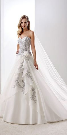24 Gorgeous Floral Applique Wedding Dresses - Trend For 2016 ❤ See more: http://www.weddingforward.com/floral-applique-wedding-dresses/ #wedding #dresses