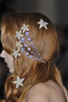 Falling stars in Lily Cole's hair
