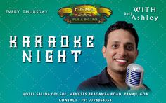 This Thursday ‪#‎KaraokeNight‬ with ‪#‎KDJAshley‬ 9PM Onwards. Only at Cafe MOJO Pub & Bistro ‪#‎Party‬ ‪#‎Goa‬ #Pub #Beer #Pubs #Bistro #Parties #GoodTimes #Weo #Drinks # #Beers #PartyinGoa.