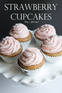 Strawberry Cupcakes with Strawberry Buttercream {dairy + gluten free} by Making it Milk-free Dairy Free Cupcakes, Gluten Free Desserts, Dairy Free Recipes, Fun Desserts, Dessert Recipes, Gourmet Cupcakes, Flour Recipes, Cupcake Recipes, Strawberry Cupcakes
