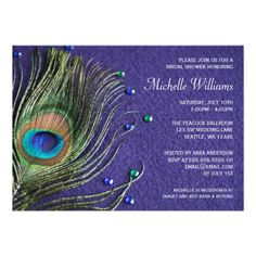 Peacock Feather Jewels Purple Bridal Shower Custom Announcements