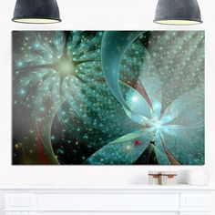 Symmetrical Fractal Flower in Light Blue - Modern Floral Glossy Metal Wall Art