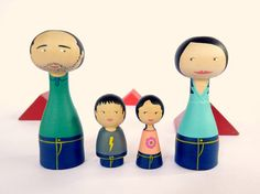 Custom Family Portrait of 4 Dolls children or pets  by zime