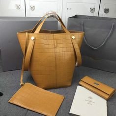 2016 S/S Mulberry Kite Tote Camel Deep Embossed Croc Print Leather