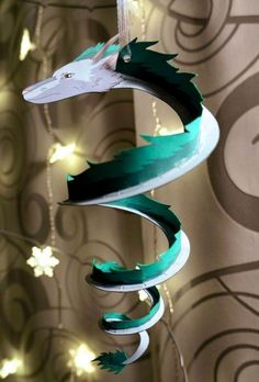 Paper Haku cut to spiral from your ceiling or shelf. Currently making myself one! I enlarge mine almost triple the size. Can't wait to put it up!