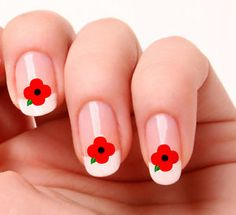 "Remembrance day nails! Poppies. THE FIRST PINNER TO NAME THE MAN WHO WROTE ""IN FLANDERS FIELDS"" WILL GET A SHOUTOUT!!!!!!!! BUT YOU HAVE TO BE FOLLOWING ME (or else it doesn't count)!!!!!!"